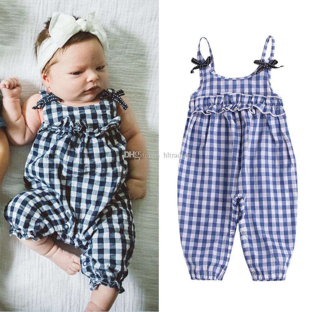 enfants Stylistes filles Plaid barboteuse enfant Sling Tenues en treillis 2019 Été Boutique bébé vêtements d'escalade C6606