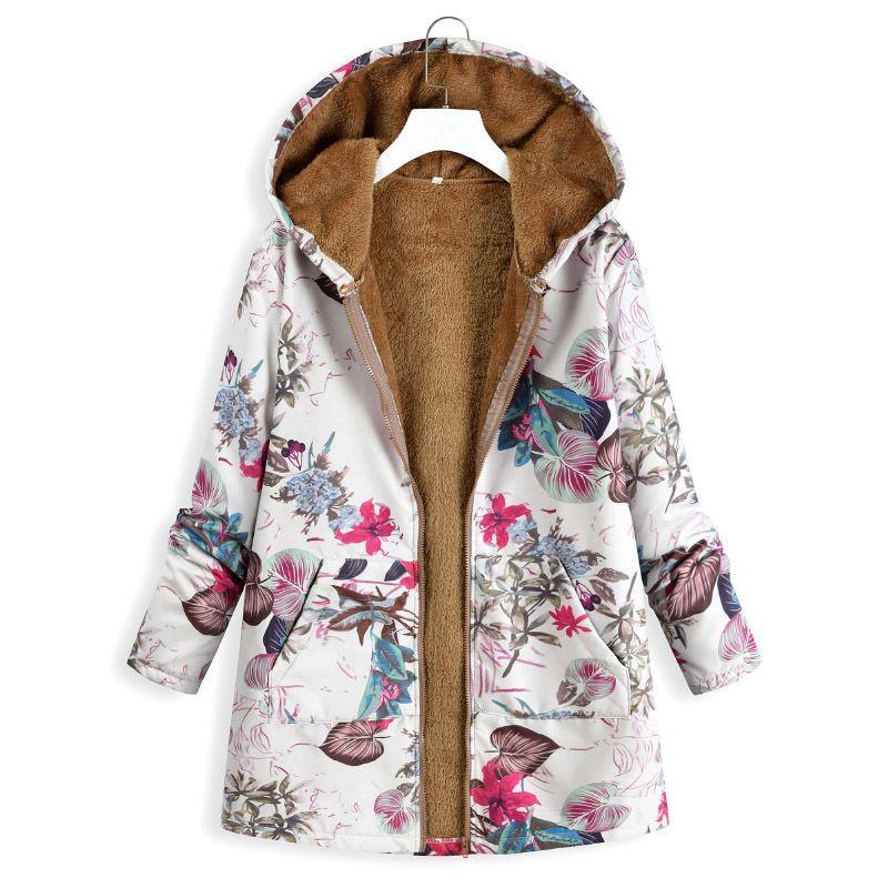 2019 Kış Sıcak Polar Ceket Vintage Çiçek Gevşek Ceket Kadın Kabanlar Boy Kapşonlu Palto Abrigos Mujer Invierno Manteau