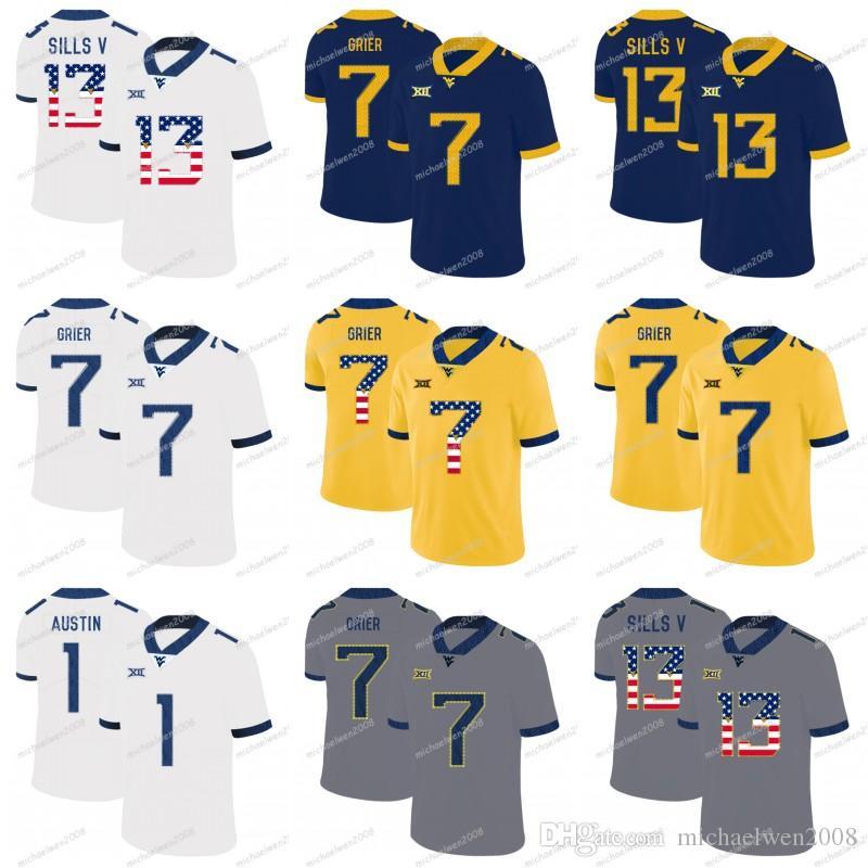 Mens 2019 Wvu West Virginia 등산객 7 Grier 13 David Sills V 4 Wendell Smallwood 1 Tavon Austin NCAA College Football Jerseys