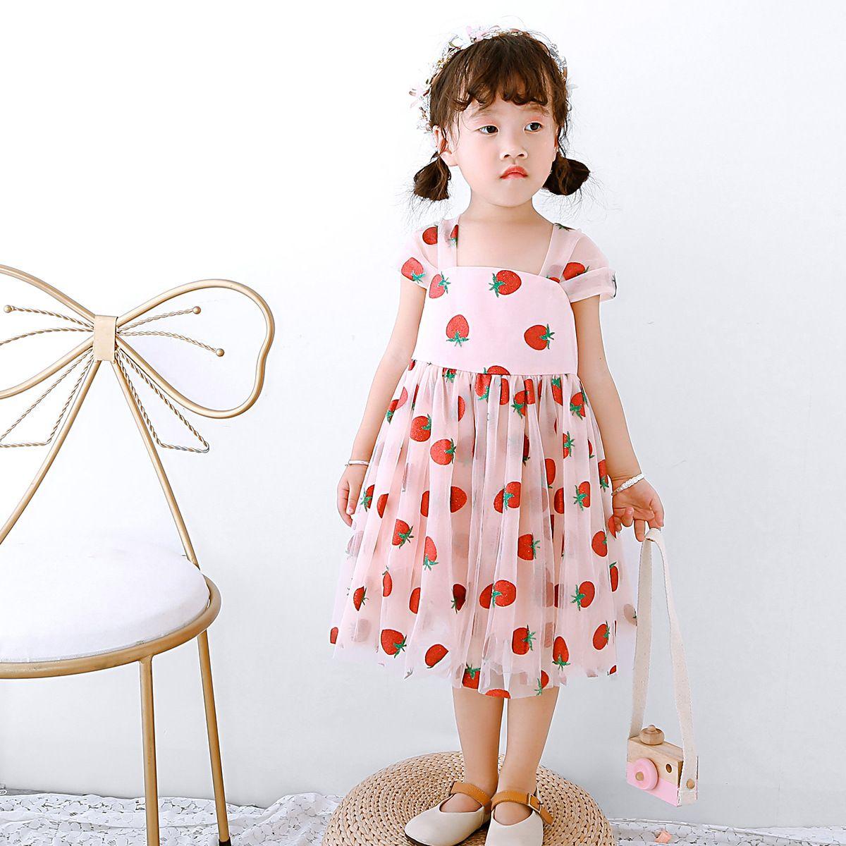 Child Girls Korean summer sleeveless stripe chiffon dress