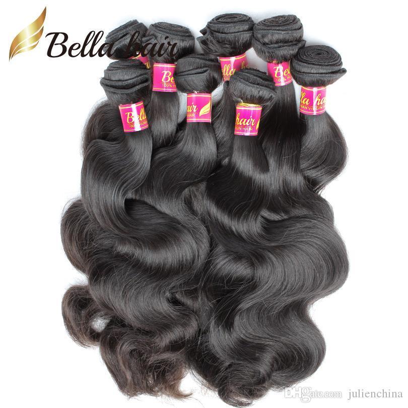 8-30inch tisse péruvienne couleur naturelle trame de haute qualité ondulée onduleuse onduler les extensions de cheveux 5 bundles bella