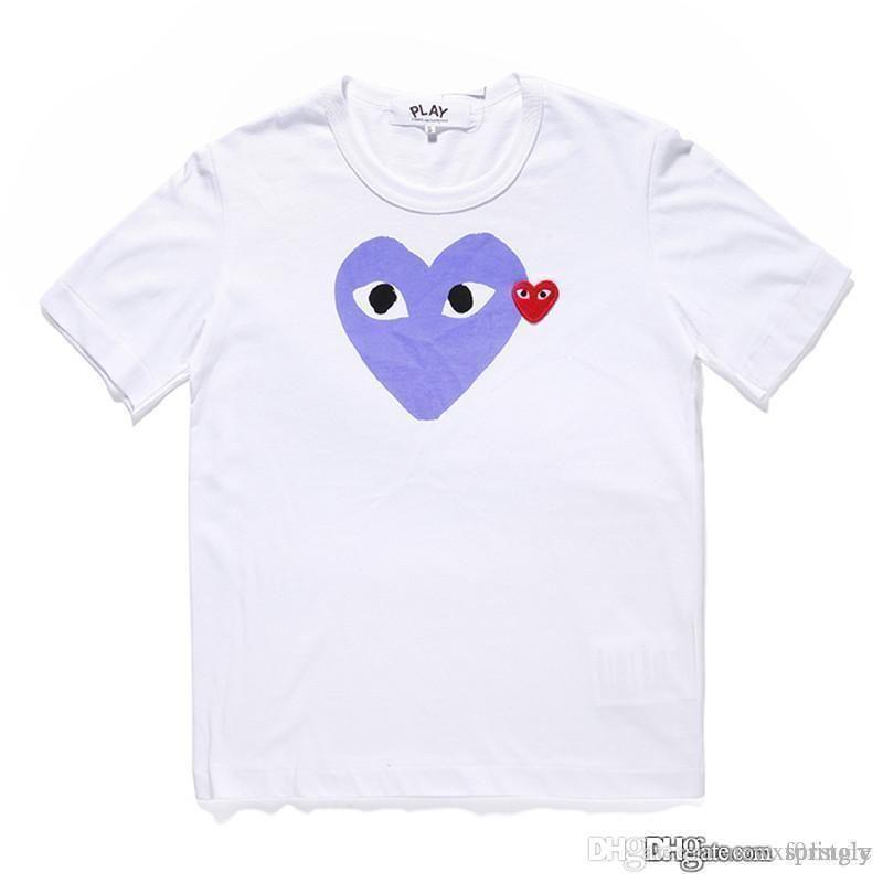 2018 COM La mejor calidad JUGAR Blanco Violeta corazón des Garcons Camiseta blanca de los hombres Green Heart Graphic Impresión grande PLAY camiseta
