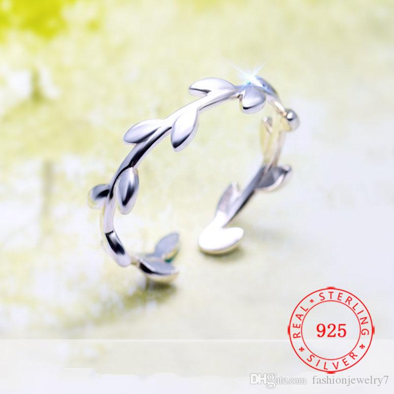 Romantic Adjustable Size Jewelry 925 Sterling Silver Ring Latest Fashion Olive Branch Open Ring Leaves Ring
