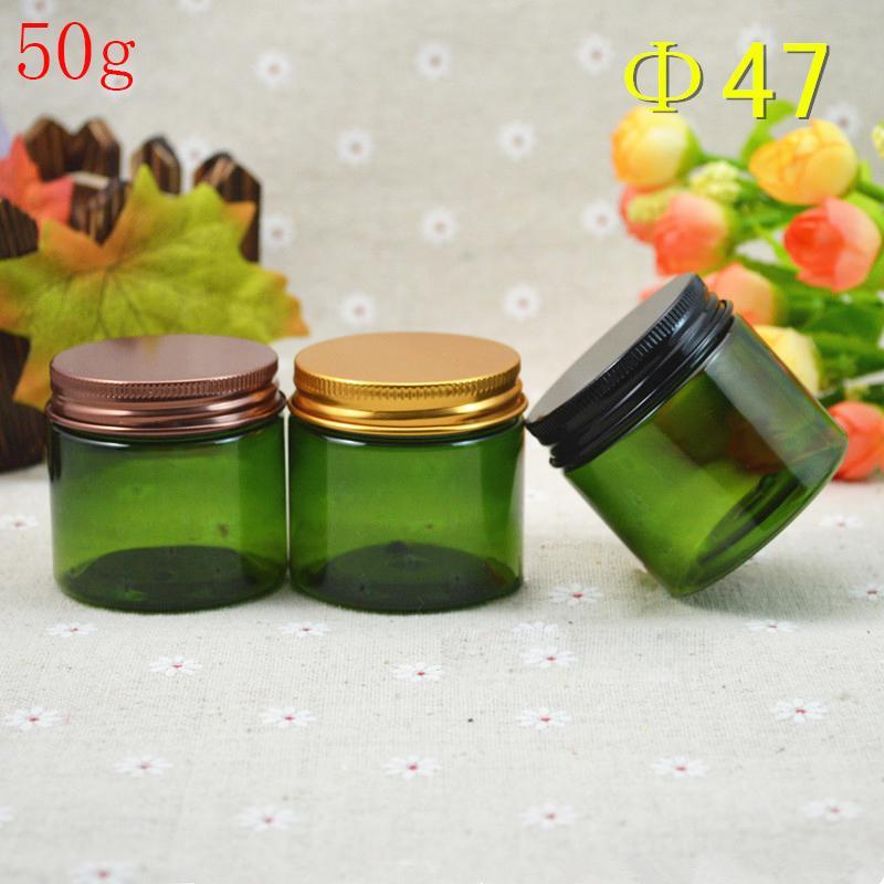 (50pcs) опорожнить зеленый ПЭТ пластиковую банку с алюминиевой крышкой, ПЭТ крем container.Powder пластиковой олова с металлическими крышками, косметические бутылки