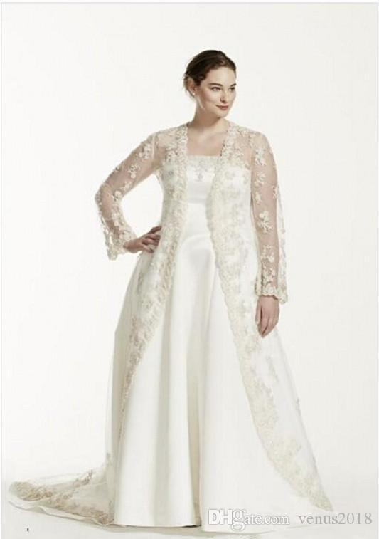 Plus Size Wedding Dress with Lace Coat Long Sleeve Strapless A Line Sweep Train Handmade Appliques Royal Design Bridal Gowns Custom Size