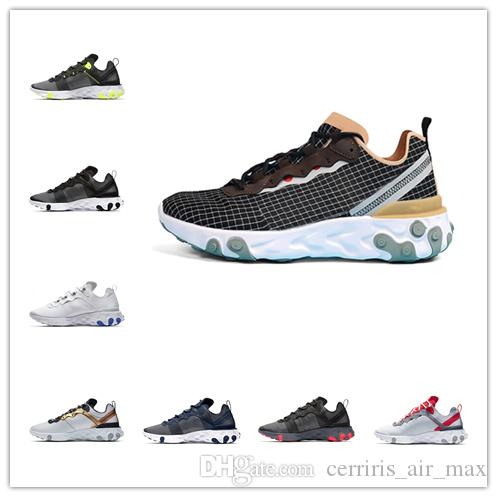 React Element 55 Luxury Running Shoes Escape Pack Taped Seams Total University Men Women Brand Design Breathable Sports Sneakers Trainers
