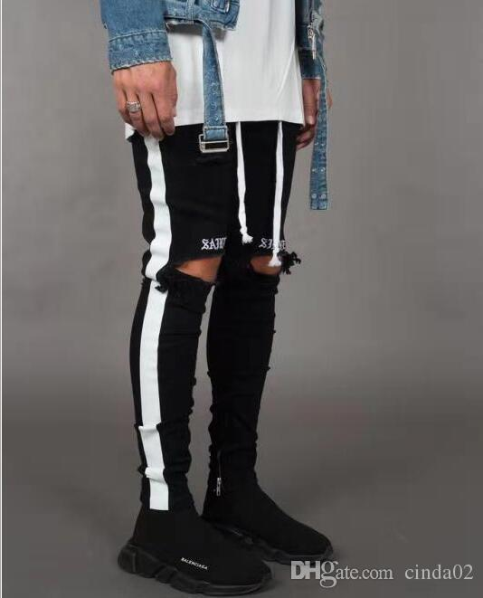 Yeni Moda Erkek Jean Sokak Kara Delikler White Stripes Jeans Hiphop Kaykay Kalem Pantolon