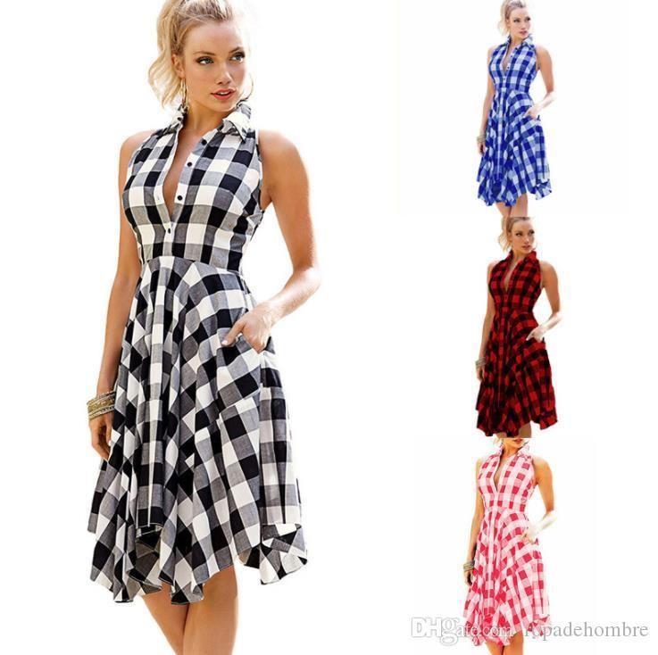 Plaid Frauen Desigenr Kleider Beiläufiges Halter gefaltetes Sleeveless Asymmetrische Blusenkleider Mode-Frauen-Kleidung