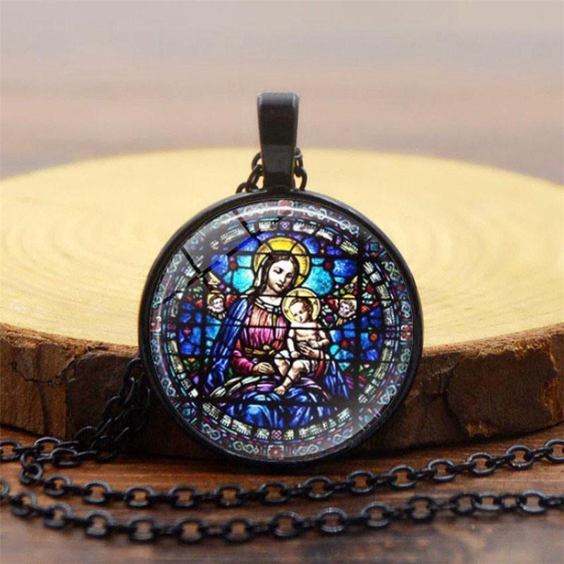 Дева Мэри подвески ожерелья цепь старинные бронзовые моды Счастливчик цвет женские христианства ювелирные изделия наша леди богиня ожерелье ювелирные изделия подарок