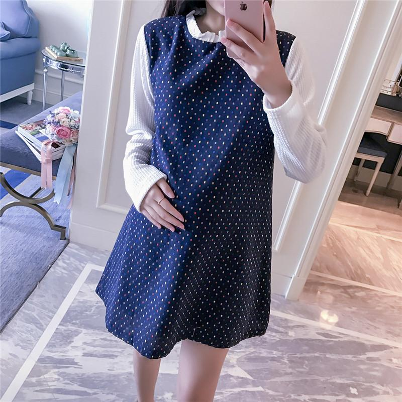 Pengpious 2019 Maternity Clothes Korean Style Long White Sleeve Patchwork Blue Woolen Pregnant Women Dress Preppy Style Blouses