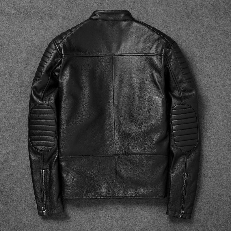 Otoño Invierno delgado chaqueta de cuero corta de los hombres del collar del soporte de la vendimia de Brown Escudo de cuero de vaca Plus Tamaño de la motocicleta de la chaqueta de los hombres