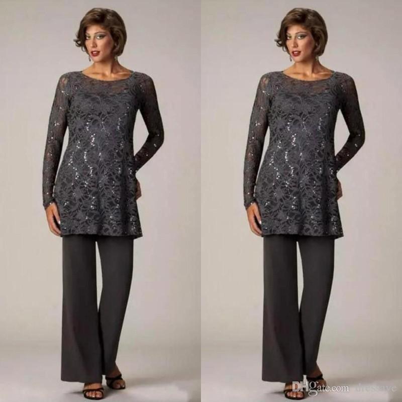 Pantaloni modesti per la madre della sposa in due pezzi Abito per matrimoni Mamme in chiffon economico Abito da uomo Tute maniche lunghe