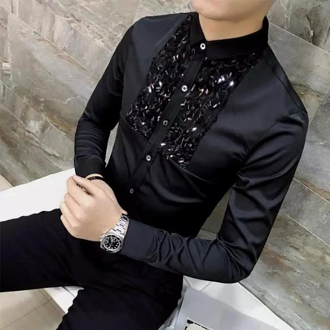 Atacado- 2017 nova marca coreana moda lantejoulas Slim Fit Mens Lace camisa de manga comprida Men Dress Shirts Casual roupas de grife preto branco