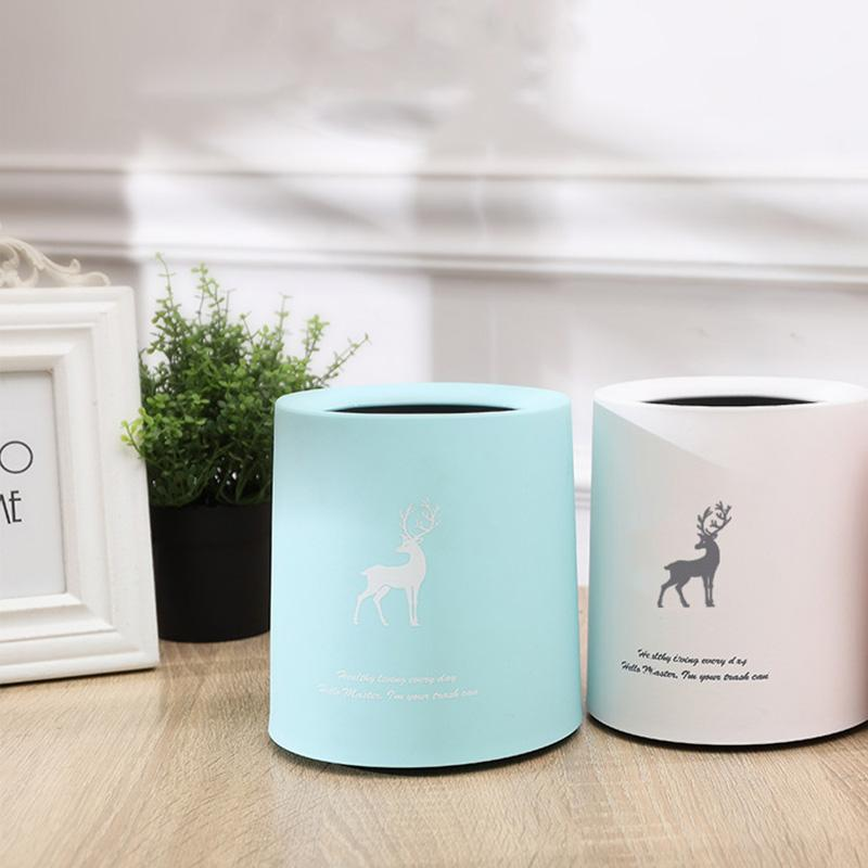 Creative Cute Desktop Plastic Trash Bin Office Home Living Room Coffee Table Small Paper Basket Mini Flip Trash Can