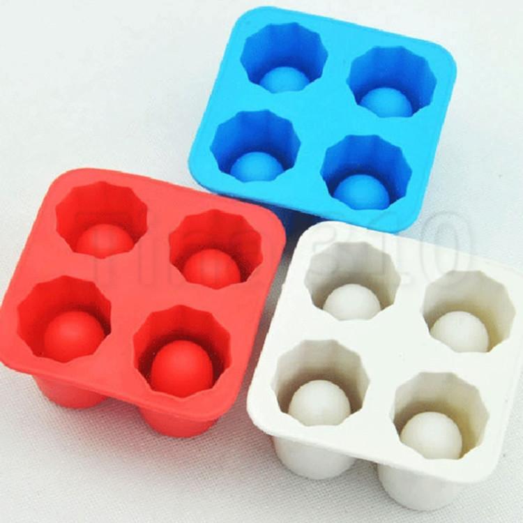 Hot summer 4 hole ice latt iceice cube mold maker tray party bar tool ice shot glass mold ice cream tool T2I5084