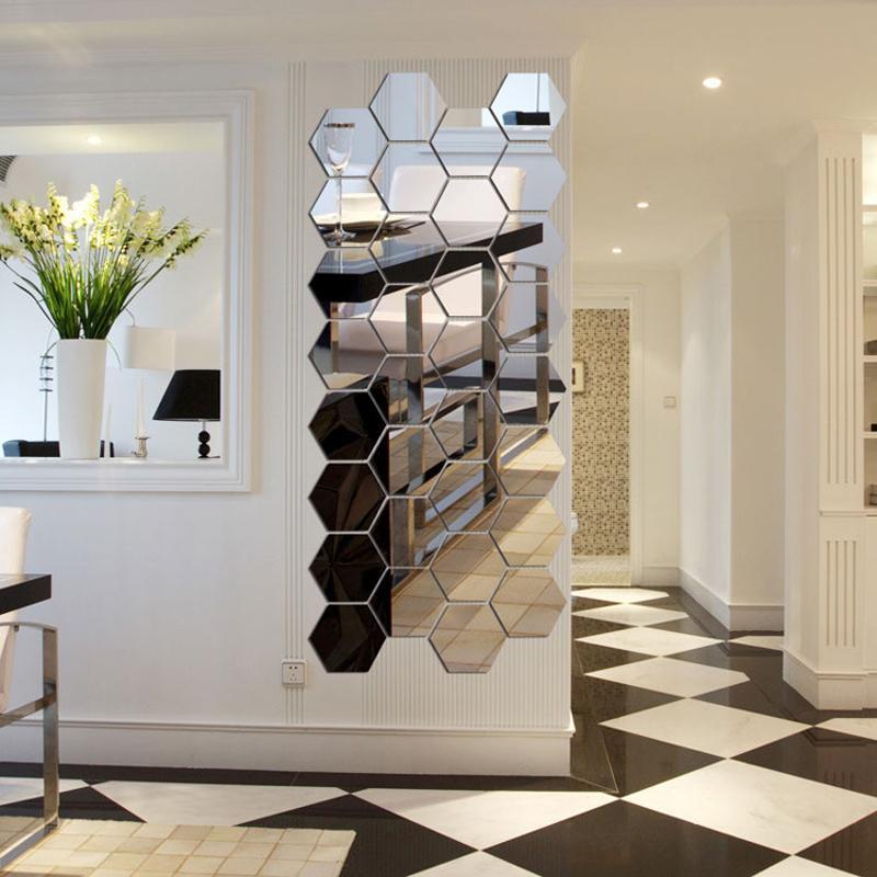 7 Piece Hexagon Acrylic Mirror Wall Stickers DIY Art Wall Decor Stickers Home Decor Living Room Mirrored Decorative Sticker