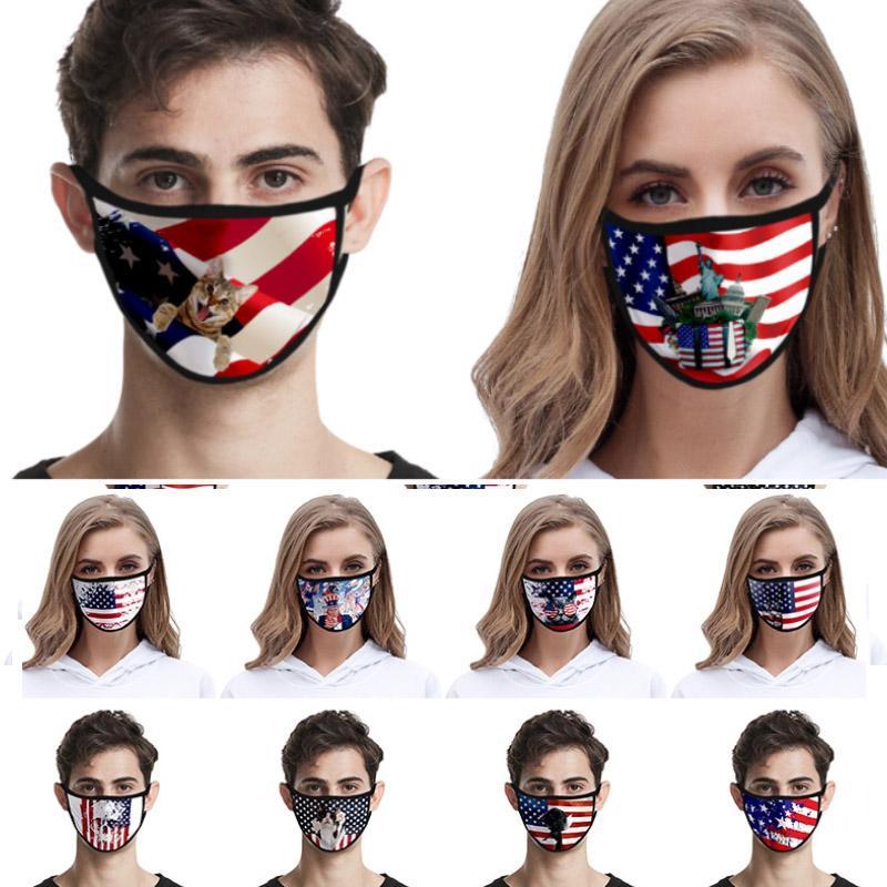 Lavabile 2020 American Flag Mask American Independence Day antipolvere di modo di stampa ghiaccio seta Maschera Tessuto della mascherina protettiva HH9-3038