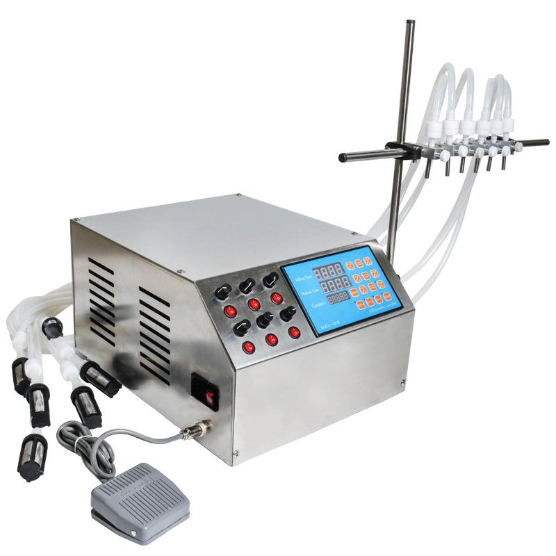 GZL-80 com 6 Chefes 220V 110V elétrica Digital Controle da bomba líquido máquina de enchimento 3-4000ml Para Frasco de perfume frasco de enchimento do óleo Juice Água