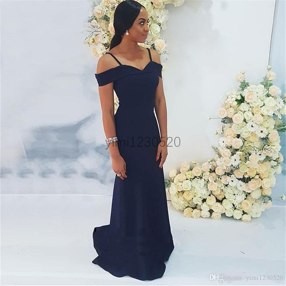 Dark Navy Mermaid Bridesmaid Dresses Spaghetti Sweep Train Garden Country African Wedding Guest Gowns Maid of Honor Dress Plus Size Cheap