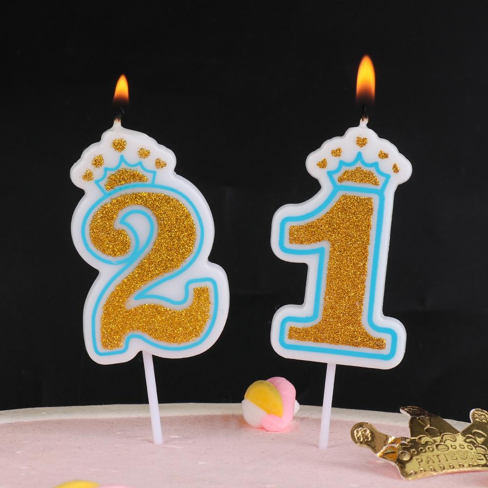 2020 Gold Pink  Blue 1 2 3 4 5 6 7 8 9 0 Crown Number Glitter Candle For Kids Girls Boys Birthday