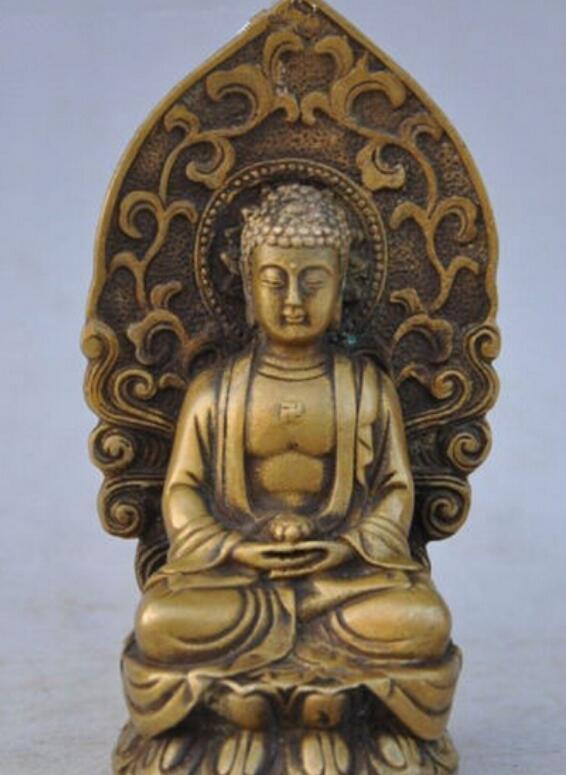 NEW + 정교한 중국 사원 Buddhism 오래된 황동 sakyamuni Shakyamuni Tathagata 동상