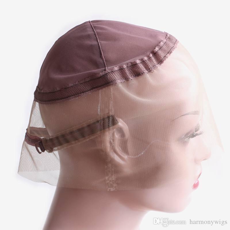 الأسهم 360 قبعات الرباط السويسري على 360 الرباط الباروكة الشعر المهنية إمتداد لمة اكسسوارات اللون البني