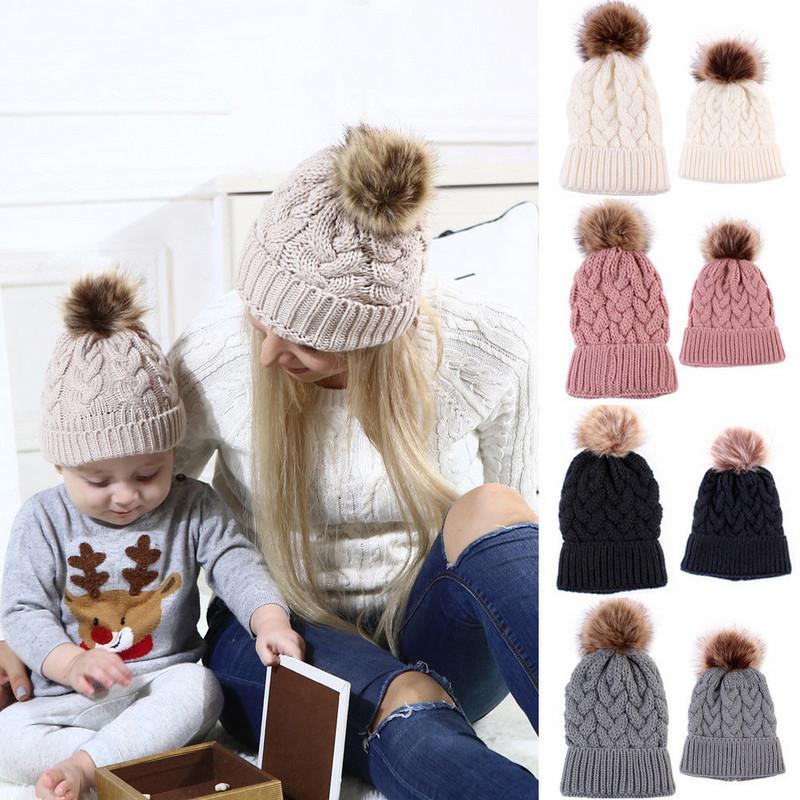 2020 New Crochet Mother Baby Kids Matching Knitting Wool Pom Bobble Hat Winter Warm Beanie Cap