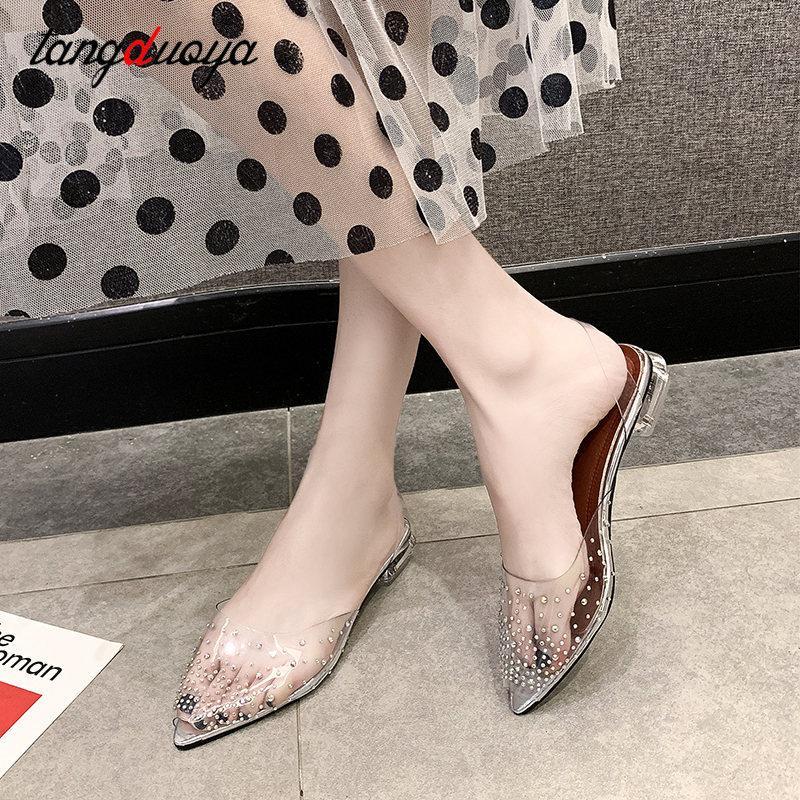 sandali bassi del tallone per pattini di estate donne gelatina trasparente scarpe da sposa sandali pvc donne rhinestone sposa argento 41 42