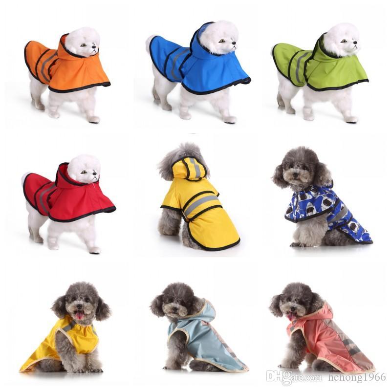 Heißer Verkaufs-Dog Raincoat große Hunde Poncho wasserdichte Pet Reflektierende Licht Umhang Camouflage Regenmäntel Verschiedene Farbe Frühling 29mq H1
