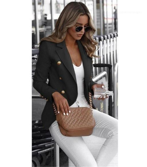 Farbe Blazer Art und Weise OL-Art-Blazer beiläufige Laple Hals zweireihiger Blazer Weibliche Kleidung Frauen Designer Massiv