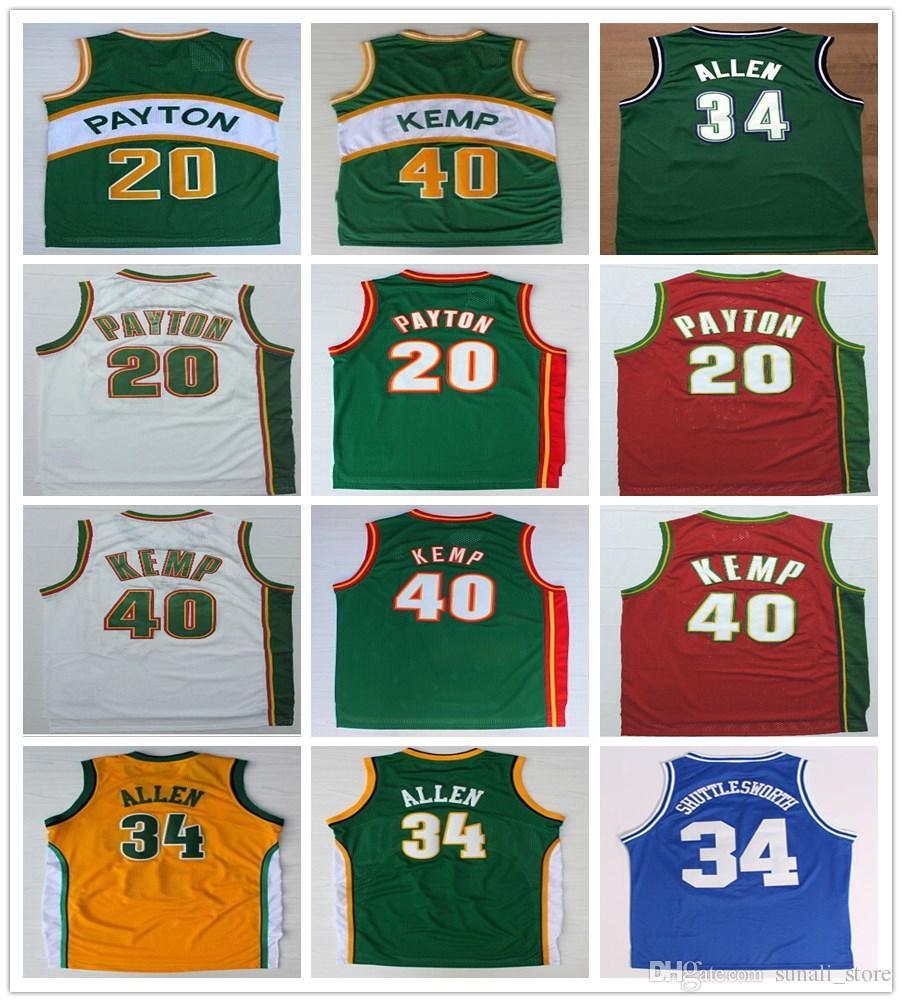 مخيط الرجال غاري 20 بايتون جيرسي أخضر أبيض أحمر شون 40 كيمب قميص كلية كرة السلة راي 34 ألين الفانيلة قمصان رياضية موحدة
