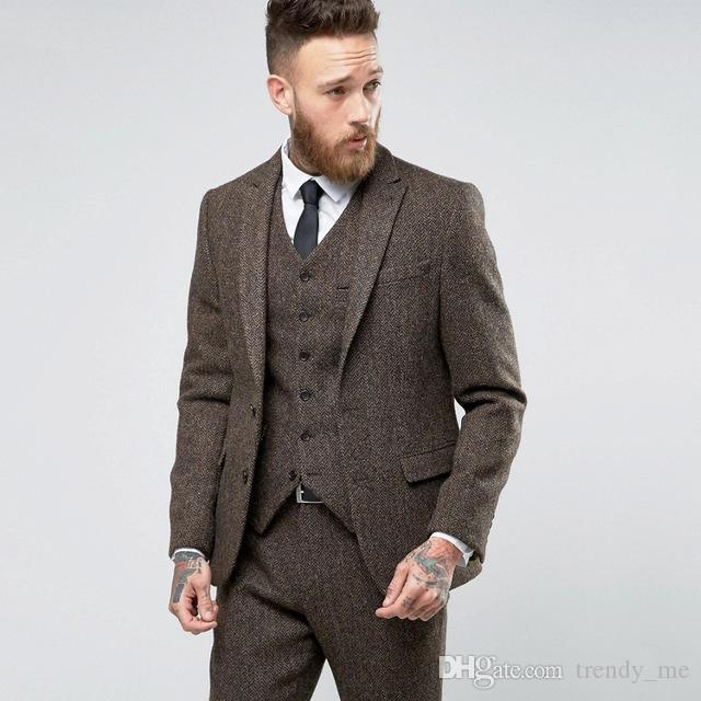 Latest Coat Pant Designs Classic Tweed Suit Men Wedding Suits For Men Custom Herringbone Tweed Jacket Formal Party Prom Blazer