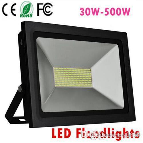 4 개 LED 반사판 110 볼트 220 볼트 LED 홍수 빛 100 와트 150 와트 200 와트 300 와트 500 와트 Led 투광 조명 정원 스포트라이트 야외 벽 램프 얇은