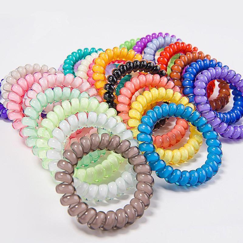 27colors calidad del alambre de teléfono Cable de goma de 6,4 cm del lazo del pelo de las muchachas anillo elástico Hairband de la cuerda del color del caramelo pulsera elástica Scrunchy