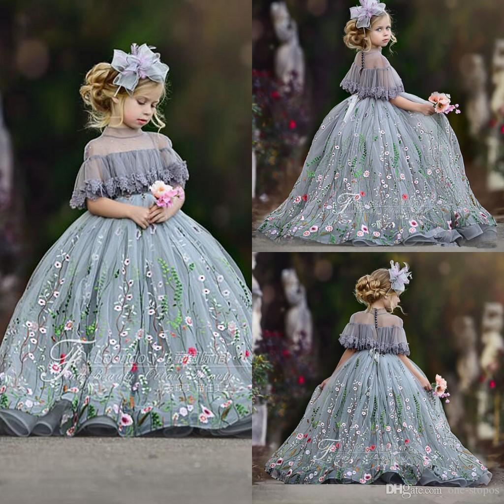Argento cutetulle ball gown fiore ragazza abiti abiti pizzo applique alto collo strass per bambini con paceant abito pavimento lunghezza della festa di compleanno della ragazza