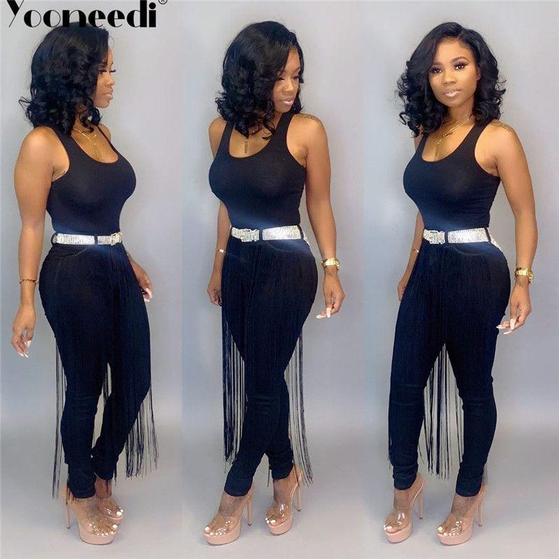 Yooneedi 2019 Verão design casual Mulheres Jeans cor sólida Tassek senhoras Denim Pants SN-2430