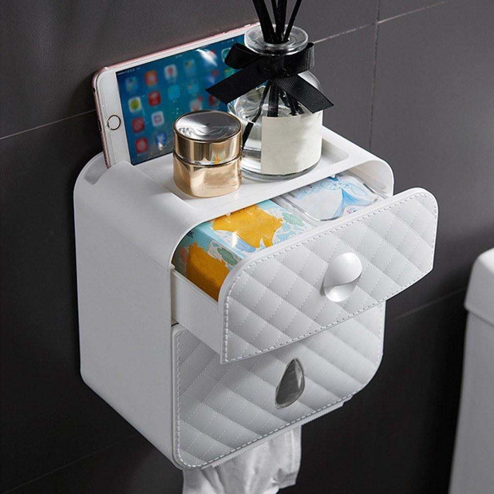 화장지 홀더 선반 트레이 벽 마운트 롤 종이 튜브 보관함 티슈 상자 종이 수건 디스펜서 주최자 욕실 홈 부엌