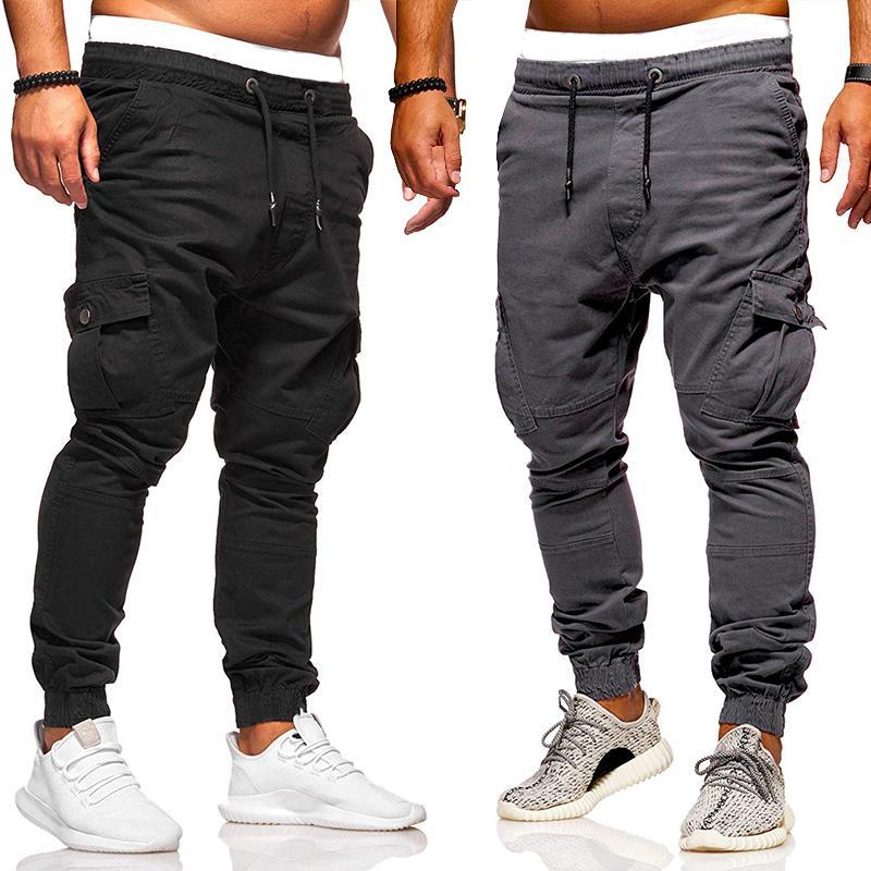 combate táctico pantalones de algodón de carga multi-bolsillo de los hombres pantalones de jogging pantalones casuales sólido pantalones de hombre urbano