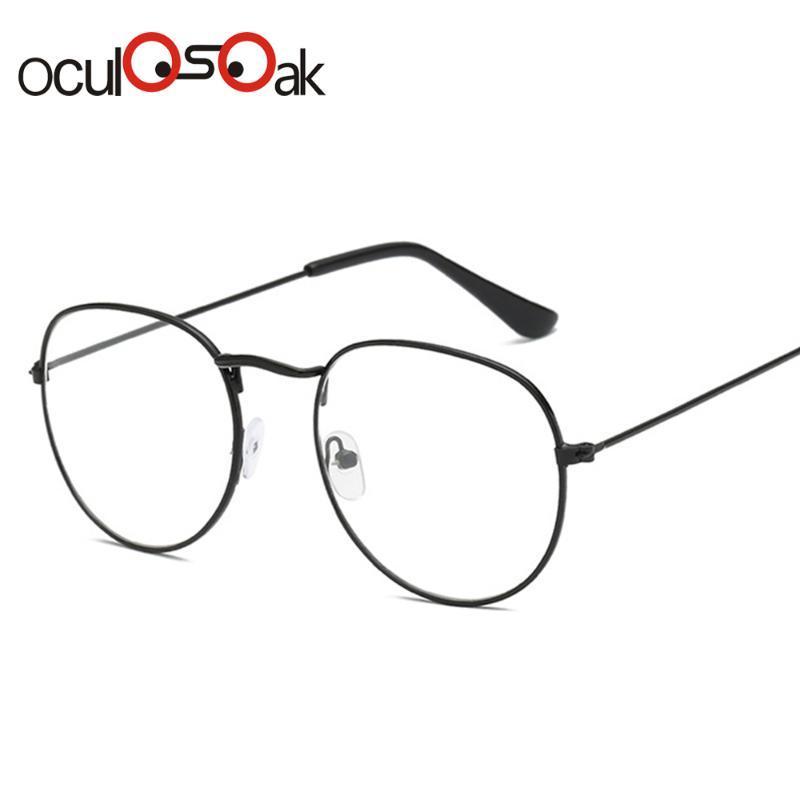 New Woman Men Glasses Optical Frames Metal Round Glasses Frame Clear lens Eyeware Black Silver Gold Eye Glass Oculos