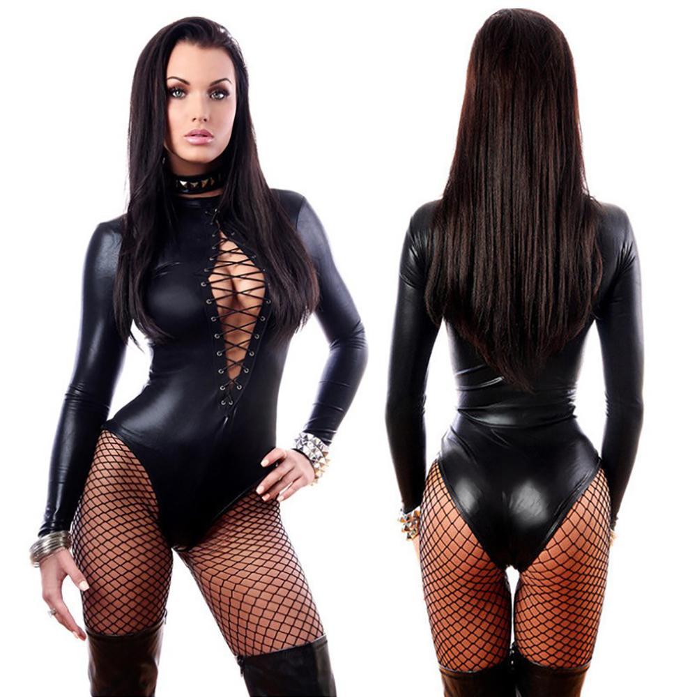 Calças Sexy Mulheres Erotic Lingerie de couro sexy Latex Porn roupa interior quente Pole Dance Club Sex Babydoll Trajes Leggings