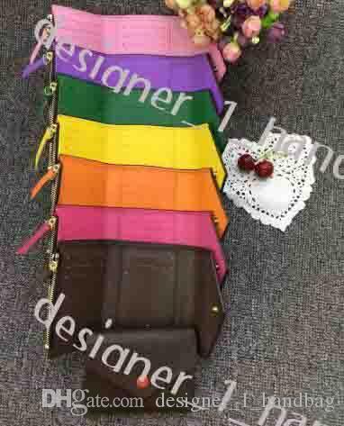 Modische Damen Geldbörse Leder Multicolor Münze Geldbörse Kurzwallet Multicolor Brieftasche Damen Kartenhalter Klassische Reißverschluss Tasche Fit