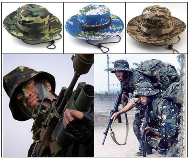 26 stil Tasarımcı Katlanabilir Pamuk Boonie Şapka Spor Kamuflaj Orman Askeri Kap Yetişkinler Kovboy Şapkaları Balıkçılık Packable Ordu Kova Şapka A0009