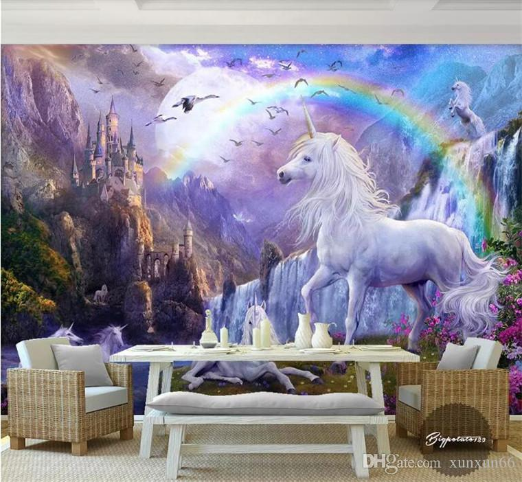 Custom 3d photo wallpaper 3d wall mural wallpaper Blue sky rainbow waterfall white horse animal landscape paintings 3d wallpaper