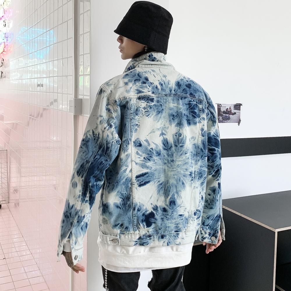 Songsanding Graffiti Streetwear Jean Jacket for Men Loose Oversize Single Breasted Painted Harajuku Denim Jacket Windbreaker Bomber Jacket