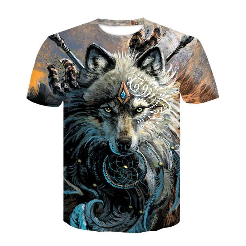Lobo Guerreiro por SunimaArt 3D camisas de T Homens T-shirts Design novo navio da gota cobre T manga curta T-shirt Camiseta animal Verão
