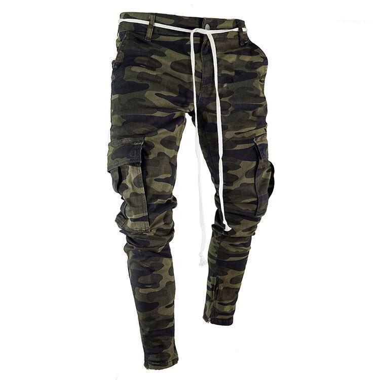 Lápiz de camuflaje pantalones vaqueros del diseñador de moda bolsillos grandes para hombre pantalones a rayas diseño de la cremallera delgado Jean