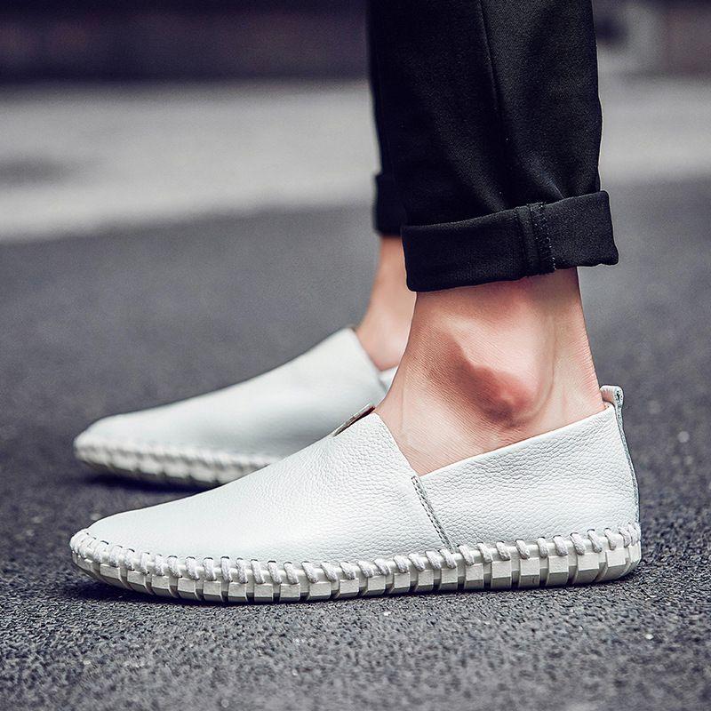 Herren Schuhe Leder-beiläufige große Größe der britischen Art Mokassin Treiber Mokassins echtes Leder Loafers Schwarz Braun Blau