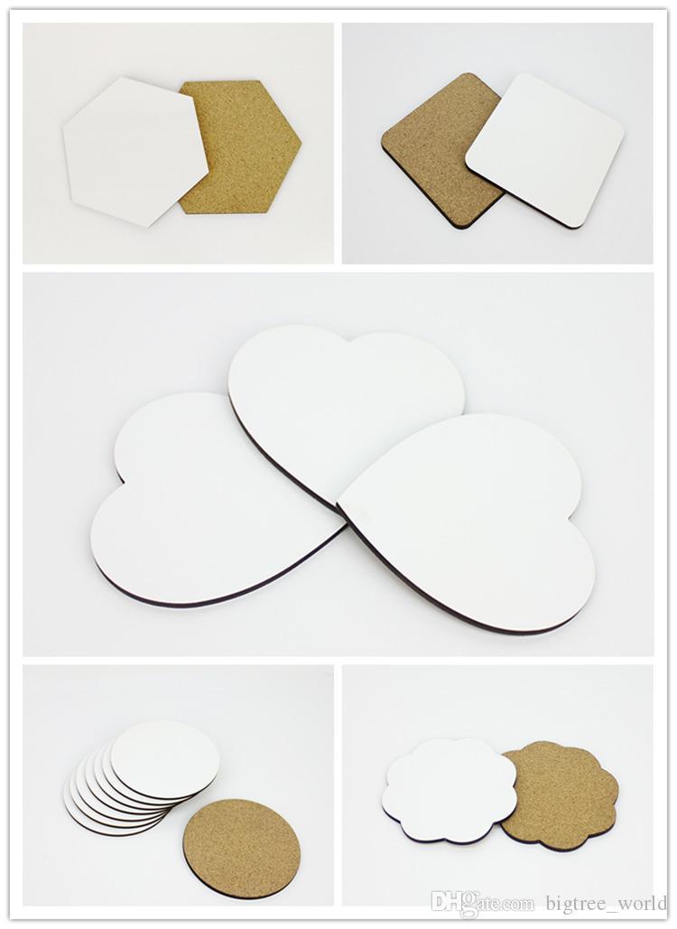 DIY Sublimación Posavas en blanco Aislado de madera Copa de corcho MAT MDF Publicidad Publicidad Promoción Copa aislada semiacabada Mats para regalo A07
