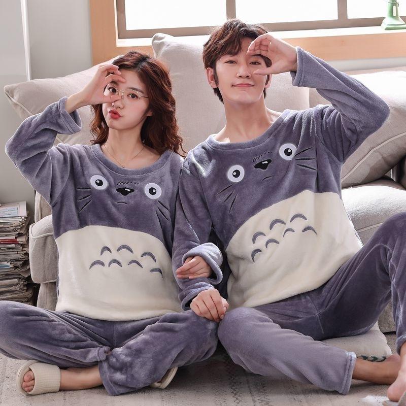 korean Flannel pajamas for couple Winter warm lovers' Sleepwear casual cartoon Coral fleece Thick Pyjamas Women Men pijama mujer