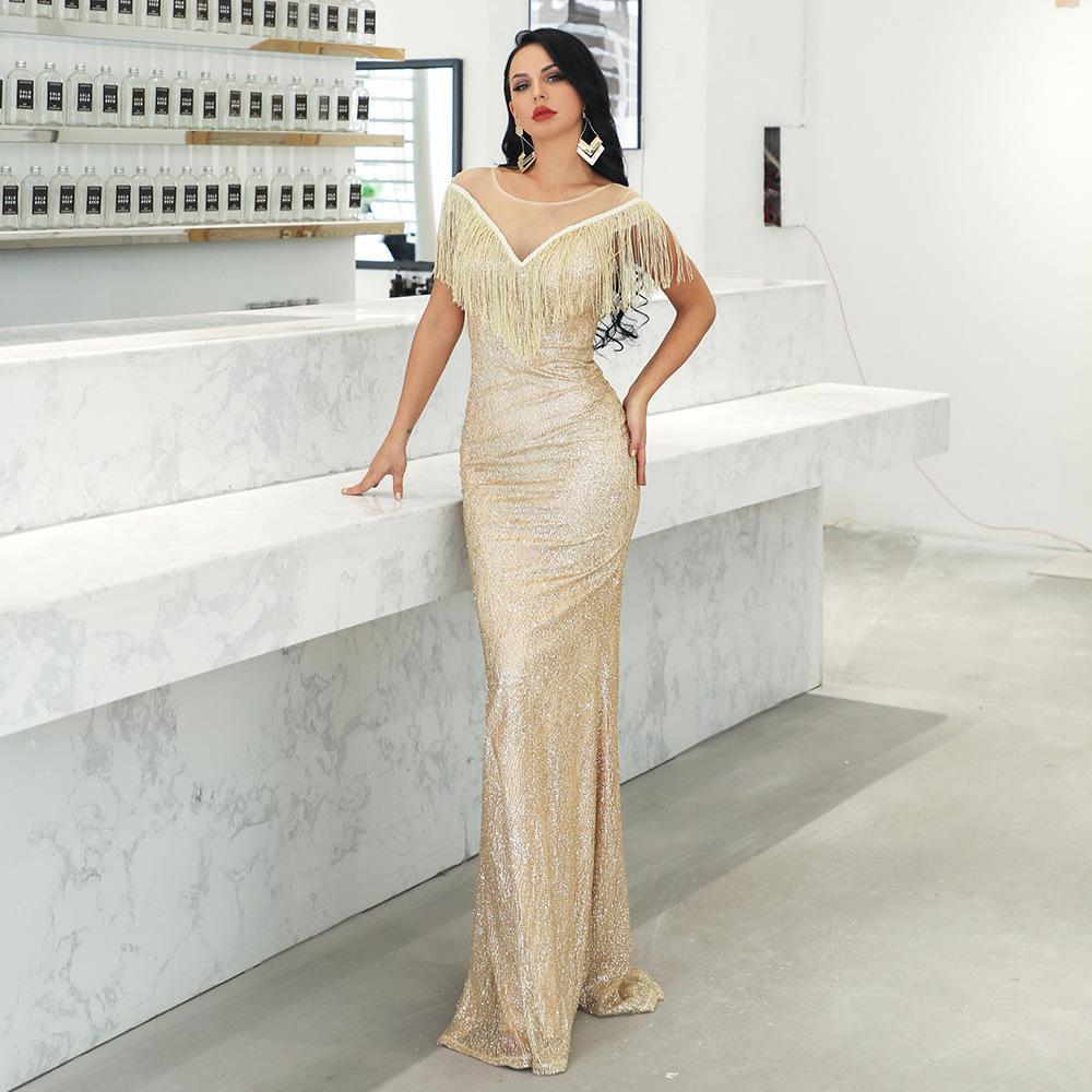 2019 Sexy deep V-lead Suu Nu gauze evening dress elegant dress 19008